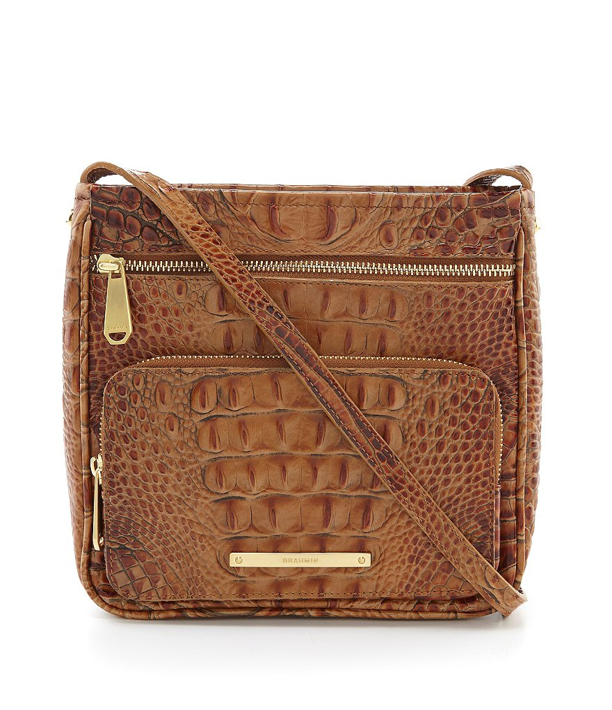 Brahmin Toasted Almond Collection Tilda Croco Embossed Cross-Body Bag