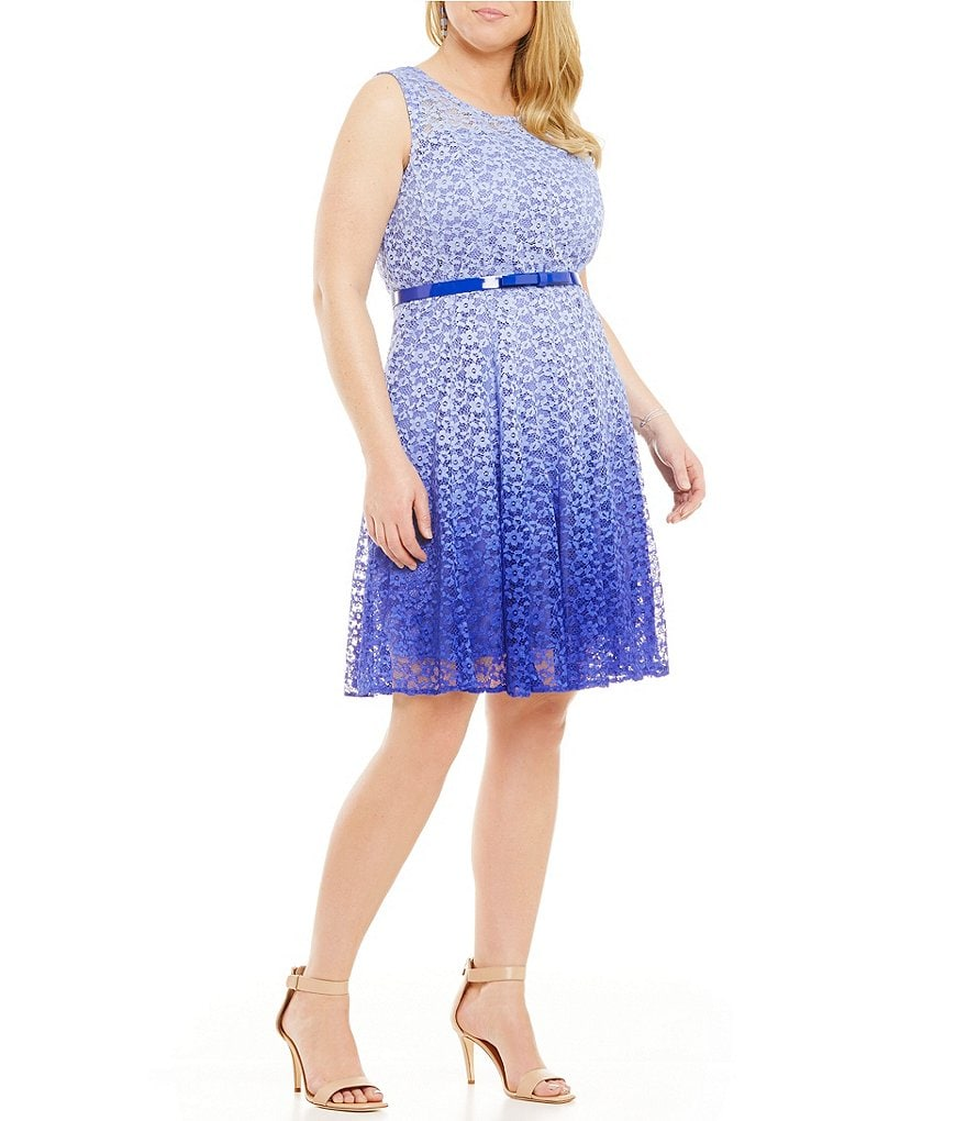 Leslie Fay Plus Ombre Lace Fit-and-Flare Dress