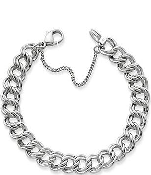 James Avery Heavy Double Curb Chain Charm Bracelet