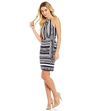 Jessica Simpson Stripe Faux-Wrap Dress