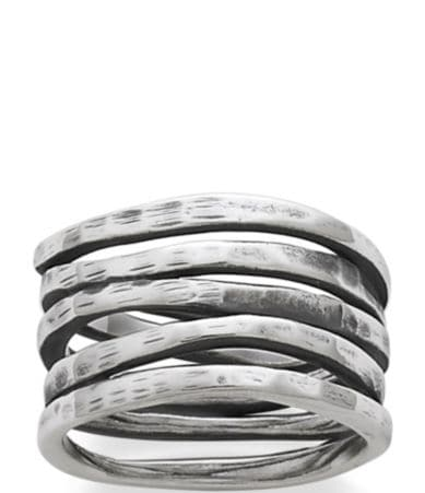 James Avery Stacked Sterling Silver Hammered Ring Dillards