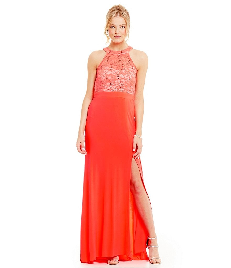 Morgan & Co. Metallic Sequin Lace High-Neckline Gown