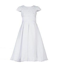 Us Angels 7-14 Lace-Bodice Box-Pleat-Skirted Dress