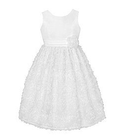 American Princess 7-12 Solid-Bodice Floral-Lace Skirted Dress