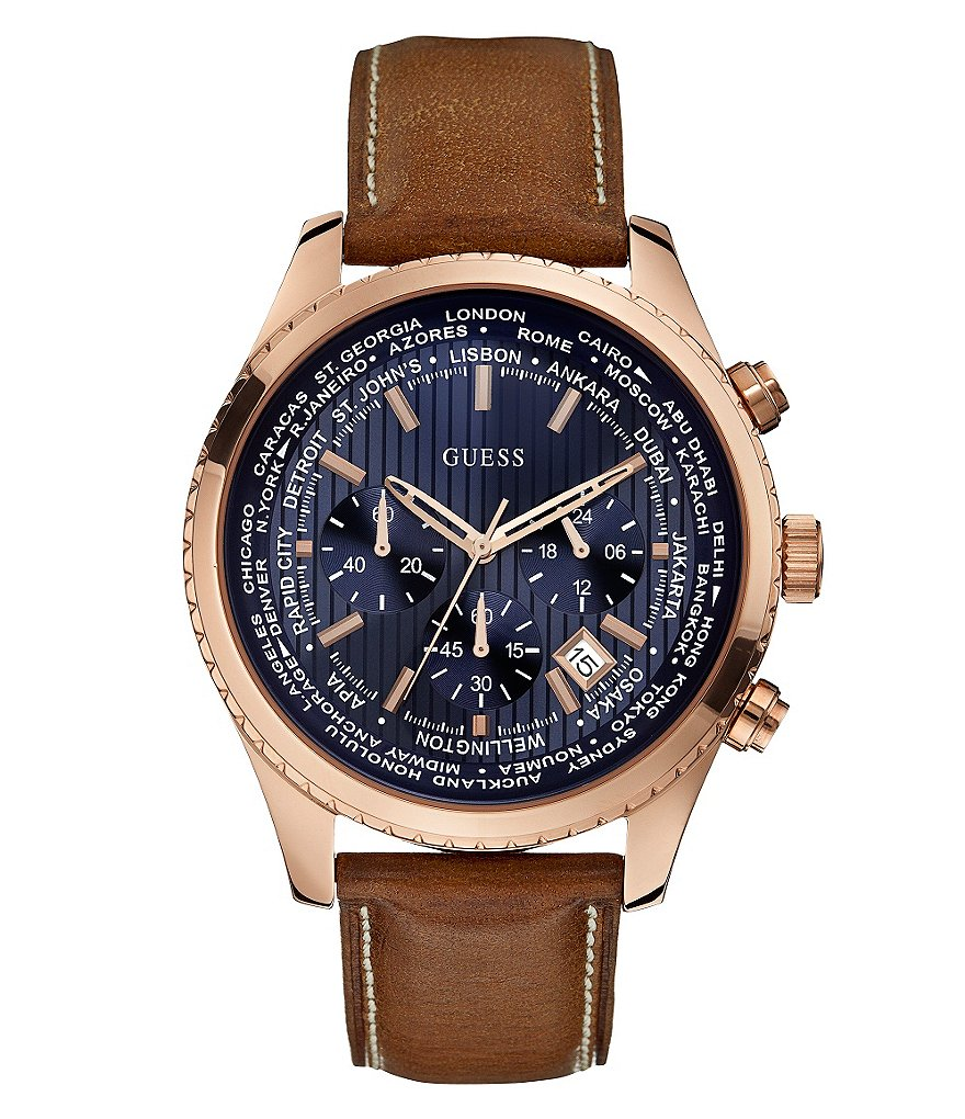 Guess Men´s International Date Chronograph Brown Leather Strap Watch