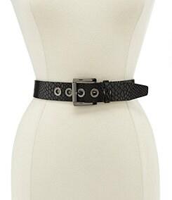 Michael Kors Snake Print MK Logo Grommet Belt