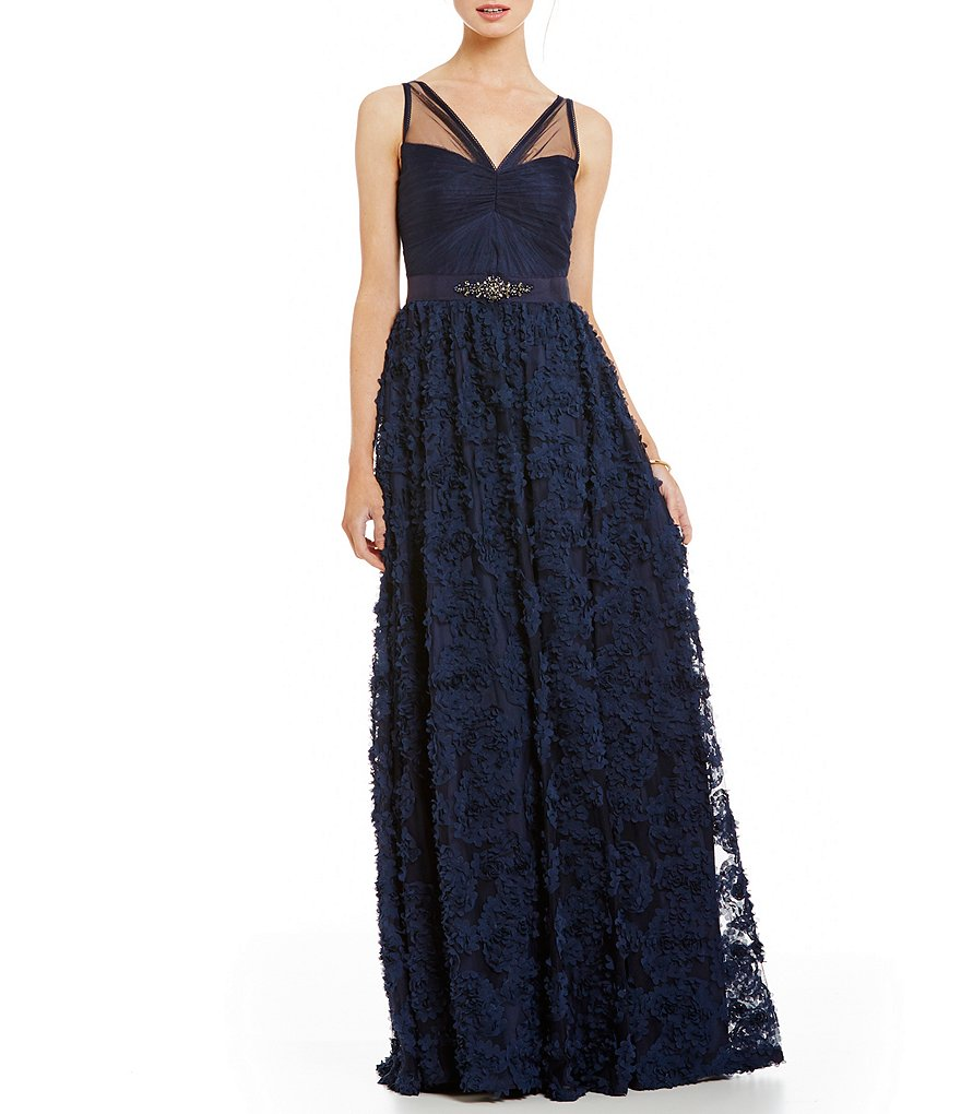 Adrianna Papell Tulle Rosette Gown