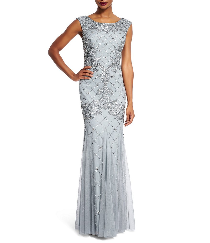 Adrianna papell sleeveless fully beaded gown dillards for Fully beaded wedding dresses