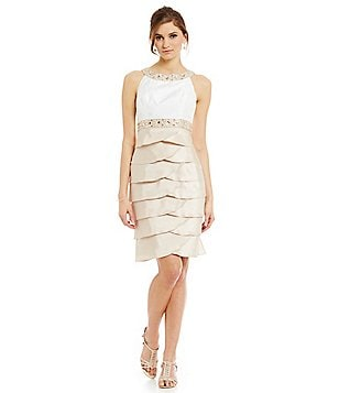 Jessica Howard Sleeveless Beaded Yoke Dress