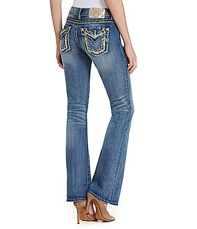 Miss Me Flap-Pocket Distressed Bootcut Jeans