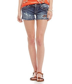 Miss Me Colorful-Inset Denim Shorts