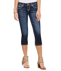 Miss Me Thick-Stitch Denim Capris