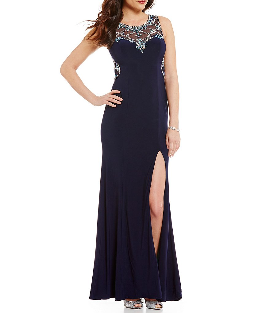 Betsy & Adam Illusion Beaded Back Gown | Dillards