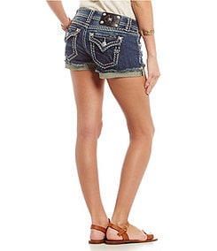 Miss Me Thick-Stitch Denim Shorts