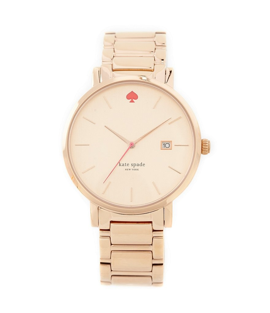 kate spade new york Gramercy Grand Rose Gold-Tone 3 Hand Stainless Steel Bracelet Watch