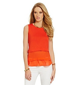 MICHAEL Michael Kors Layered Chiffon Knit Top