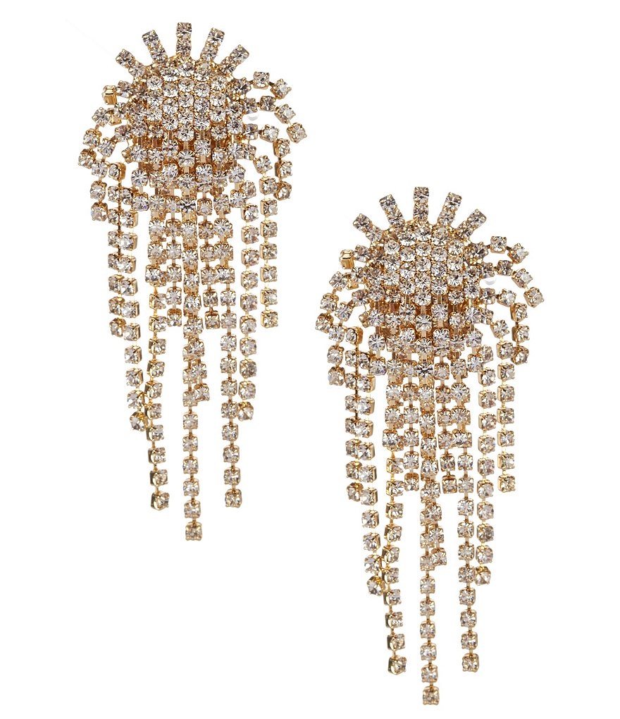 Cezanne Fireworks Rhinestone Clip-On Earrings