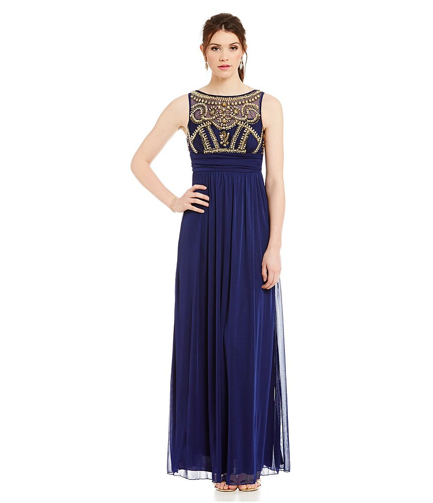 B. Darlin Jeweled Illusion Bodice Gown