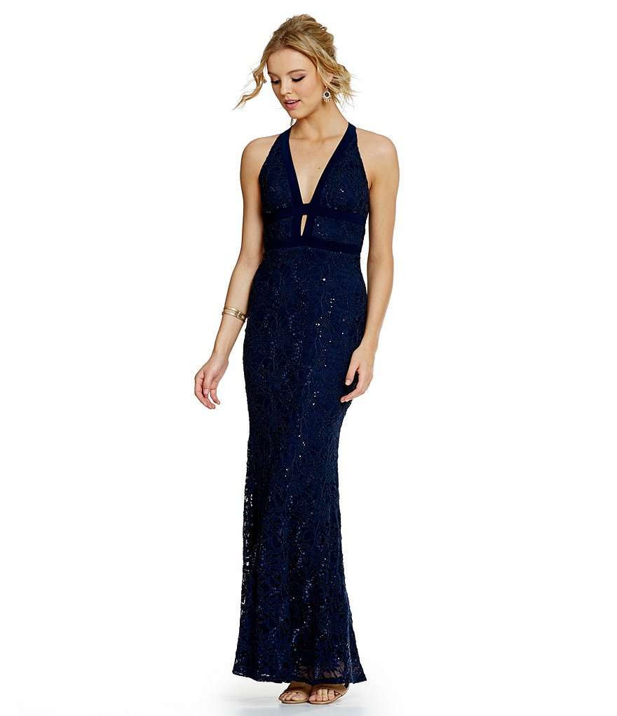 B. Darlin Deep V-Neck Sequin Lace Long Dress