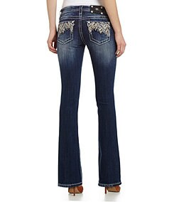 Miss Me Mid-Rise Cross-Pocket Bootcut Jeans