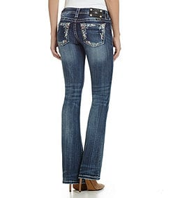 Miss Me Colorful-Pocket Bootcut Jeans