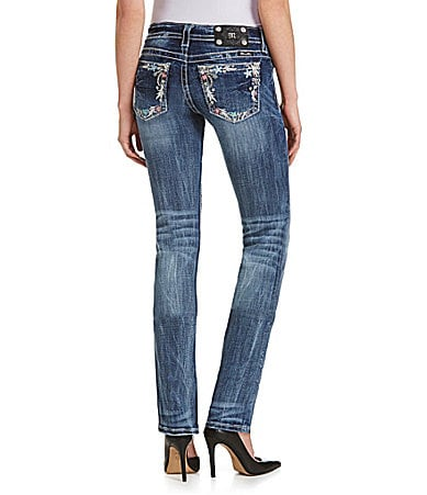 Miss Me Colorful-Pocket Straight-Leg Jeans