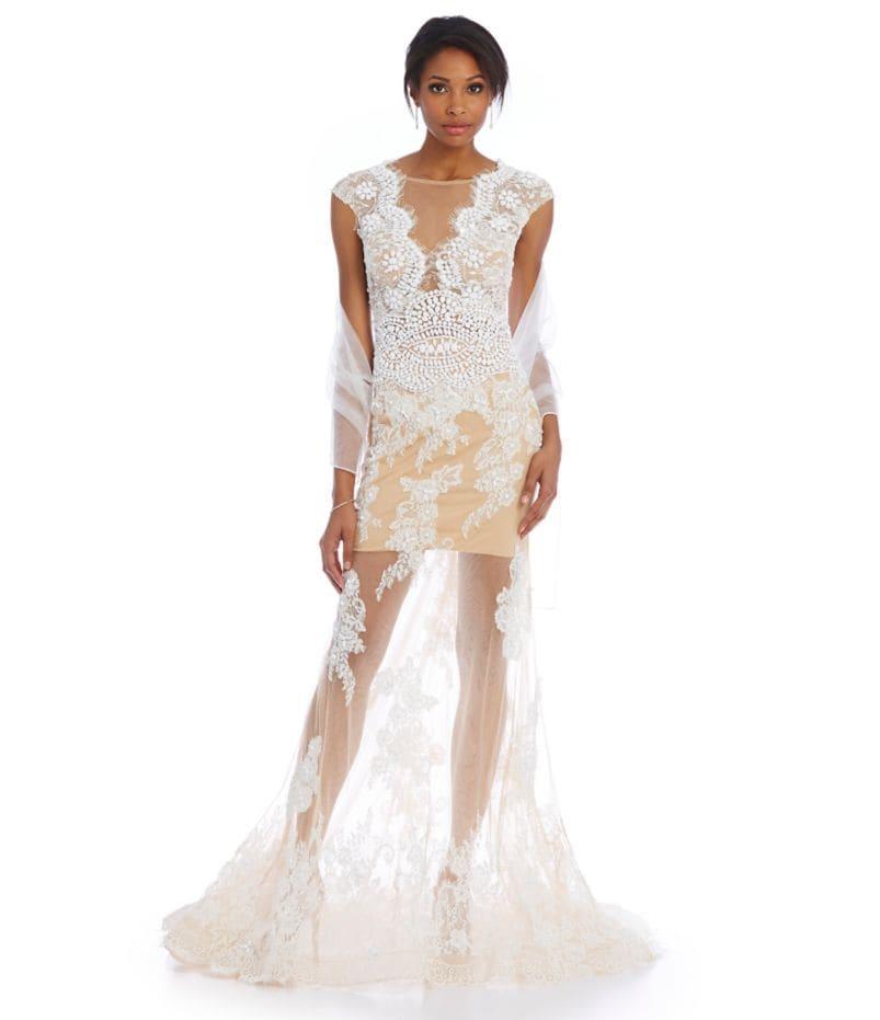 Terani Couture Scalloped Illusion Lace Gown