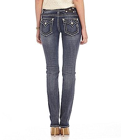 Miss Me Flap-Pocket Straight-Leg Jeans