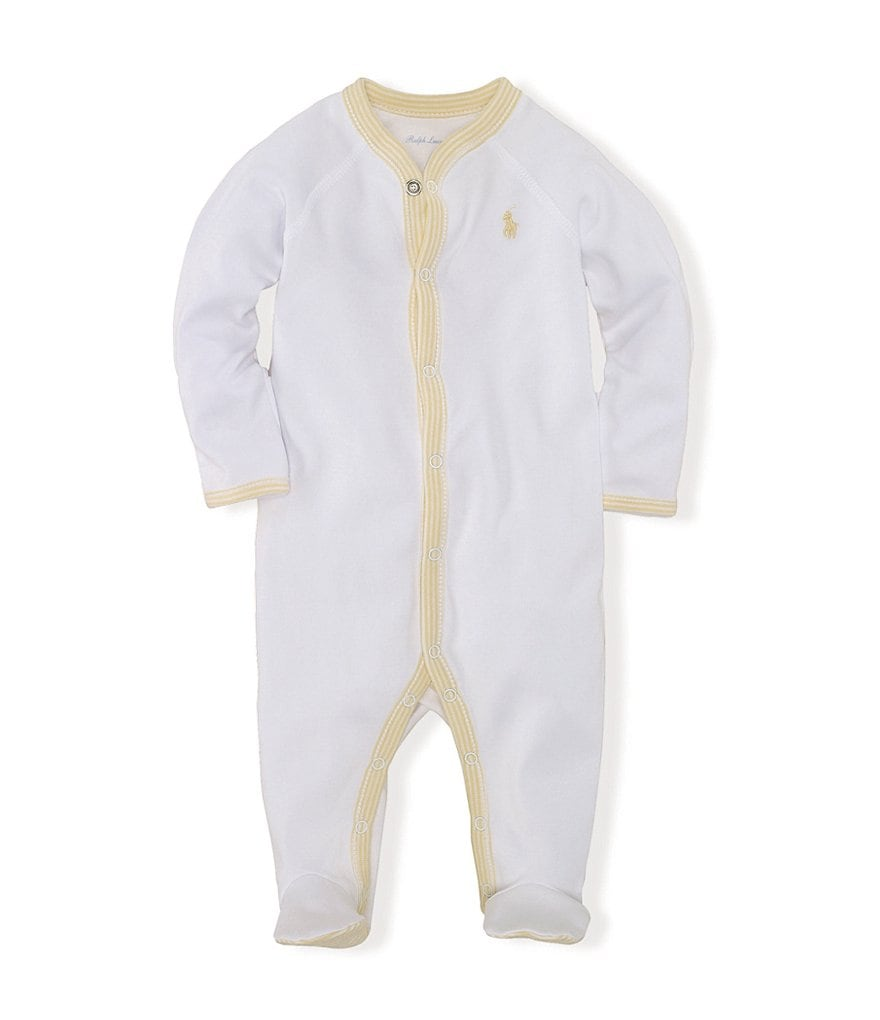 Ralph Lauren Childrenswear Newborn-9 Months Striped-Trim Solid Coverall