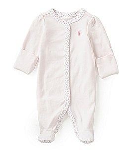 Ralph Lauren Childrenswear Baby Girls Newborn-9 Months Floral-Trim Coverall Image