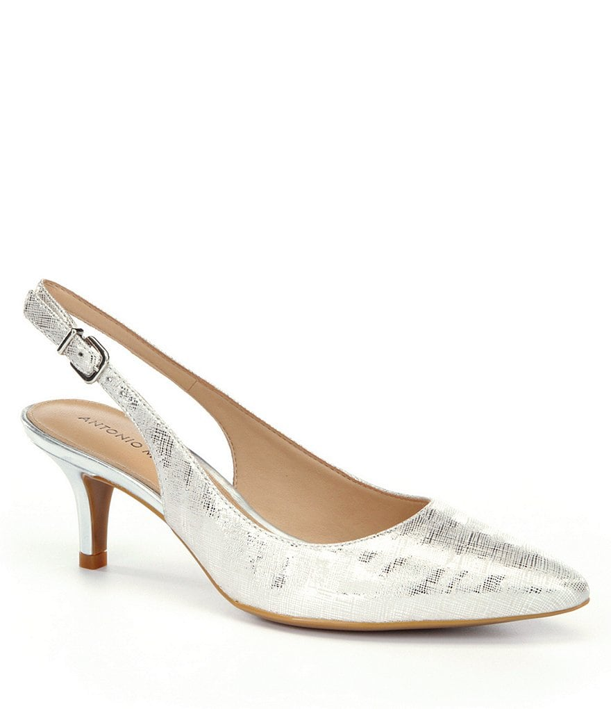 Antonio Melani Orlenne Metallic Slingback Pointed-Toe Pumps