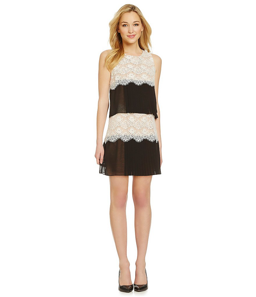Jessica Simpson Colorblocked Tiered Lace Shift Dress