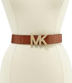 Michael Kors Croc-Embossed Panel MK Plaque Belt