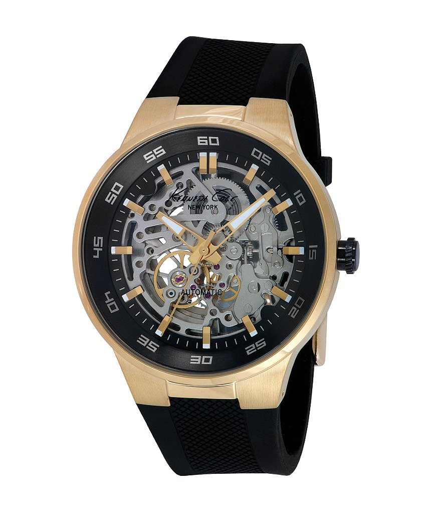 Kenneth Cole New York Men´s Automatic Skeleton Dial Stainless Steel and Silicone Watch