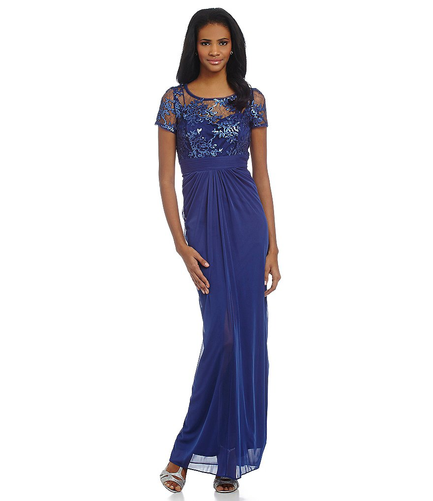 Adrianna Papell Petite Sequin Embroidered Bodice Gown