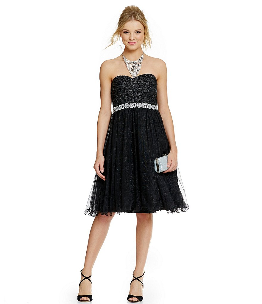 Jodi Kristopher Strapless Glitter-Accented Tea Length A-line Party Dress