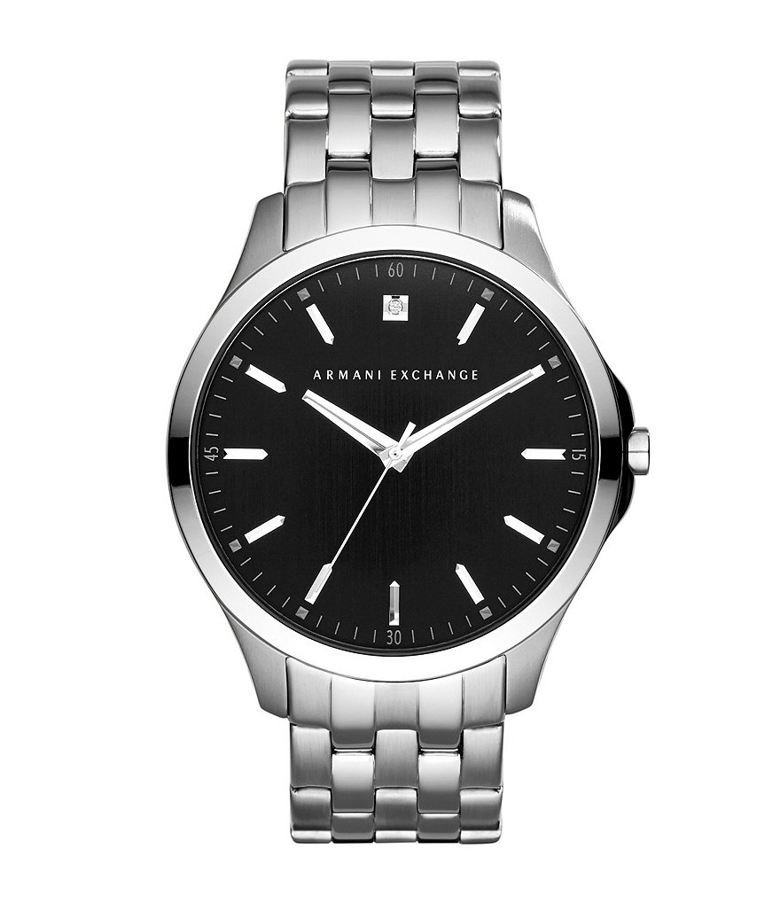 AX Armani Exchange Men´s 3 Hand Stainless Steel Watch with Genuine Diamond
