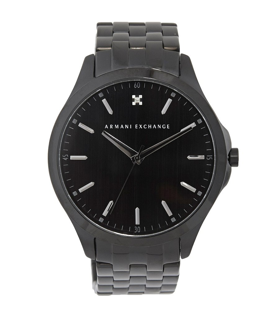 AX Armani Exchange Men´s Analog Black Stainless Steel Watch with Genuine Diamond