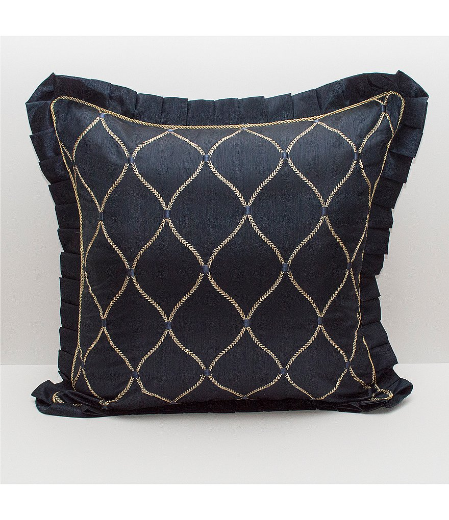 Waterford Vaughan Metallic Trellis-Embroidered Euro Sham