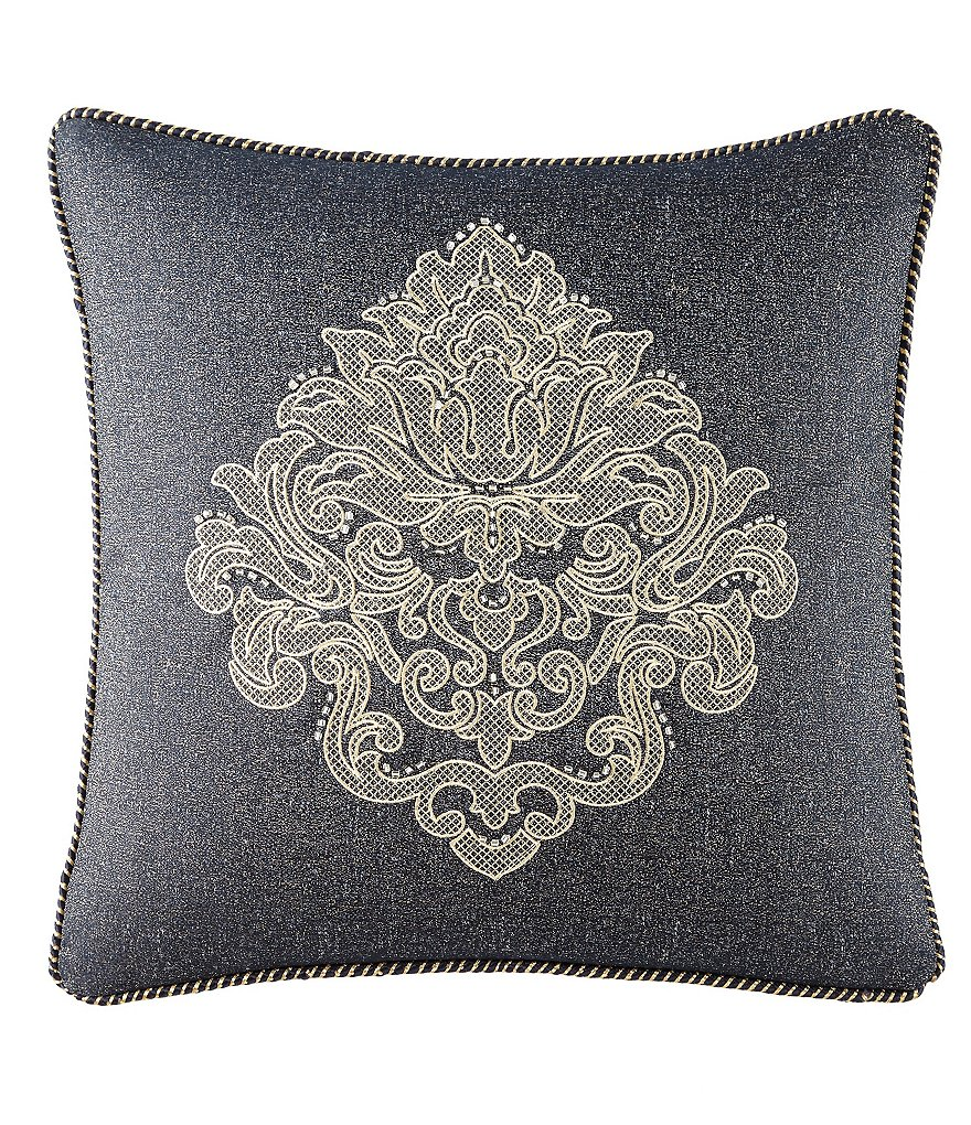 Waterford Vaughan Rope-Trimmed Embroidered Medallion Square Pillow