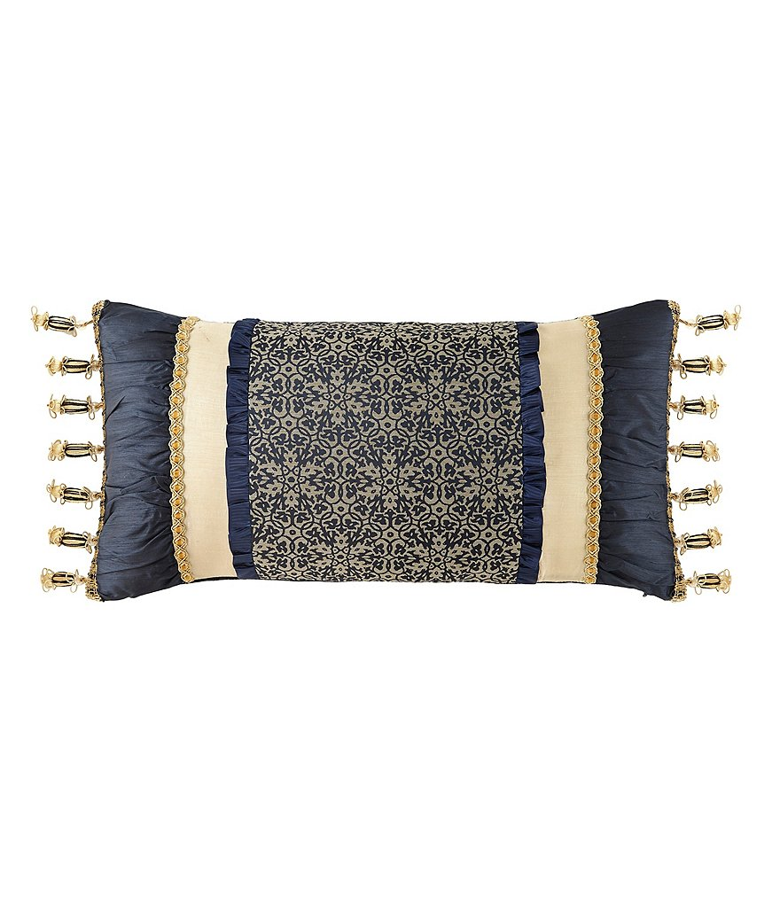 Waterford Vaughan Ruched Geometric Oblong Pillow with Metallic Ball Fringe