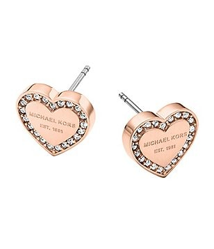 Michael Kors Logo Heart Stud Earrings