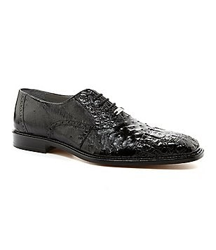 Belvedere Onesto II Cap-Toe Crocodile/Ostrich Dress Oxfords
