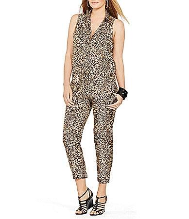Lauren Ralph Lauren Plus Drawcord Leopard Jumpsuit