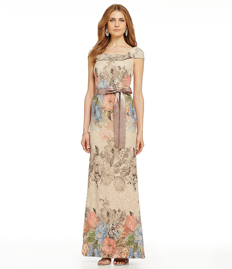Adrianna Papell Floral Jacquard Mermaid Gown