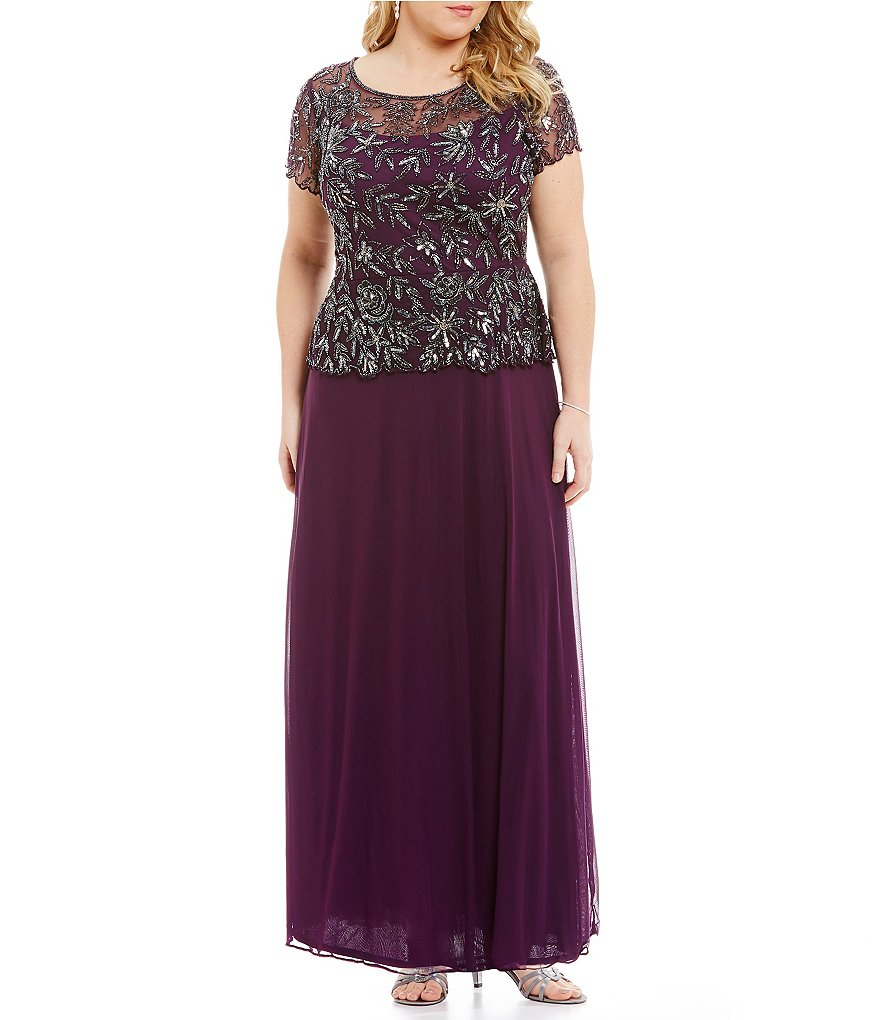 Pisarro Nights Plus Floral-Beaded Mock 2-Piece Gown