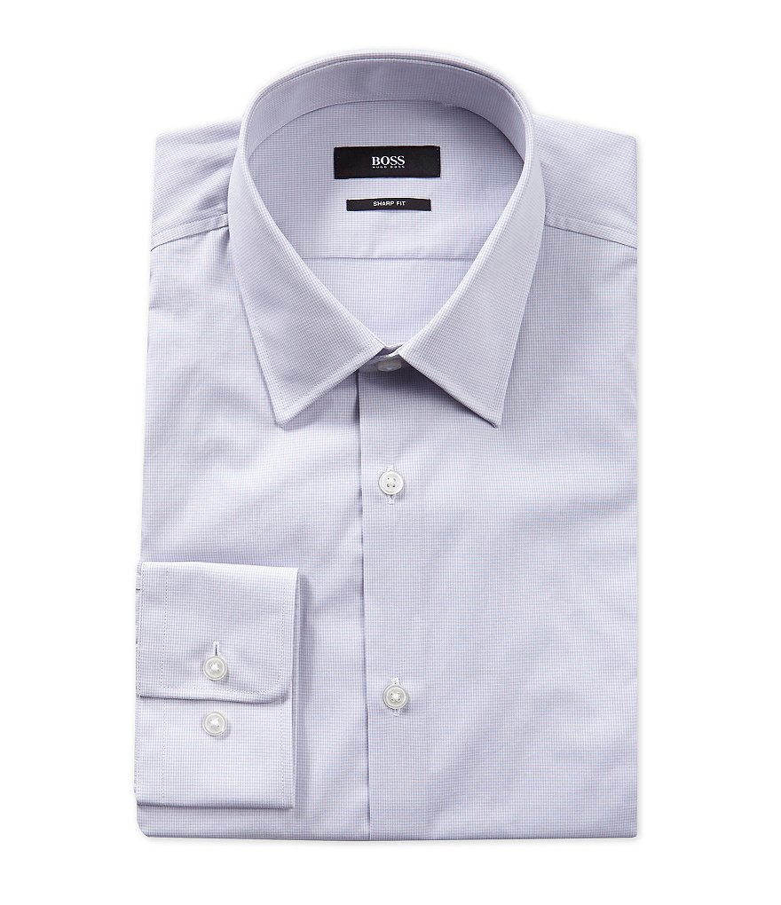 BOSS Hugo Boss Sharp Slim-Fit Point-Collar Gingham Dress Shirt