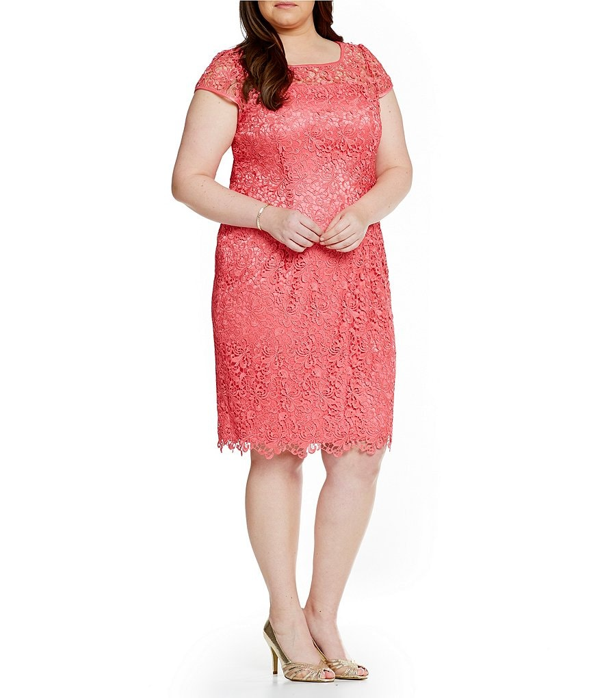 Adrianna Papell Plus Illusion Lace Dress