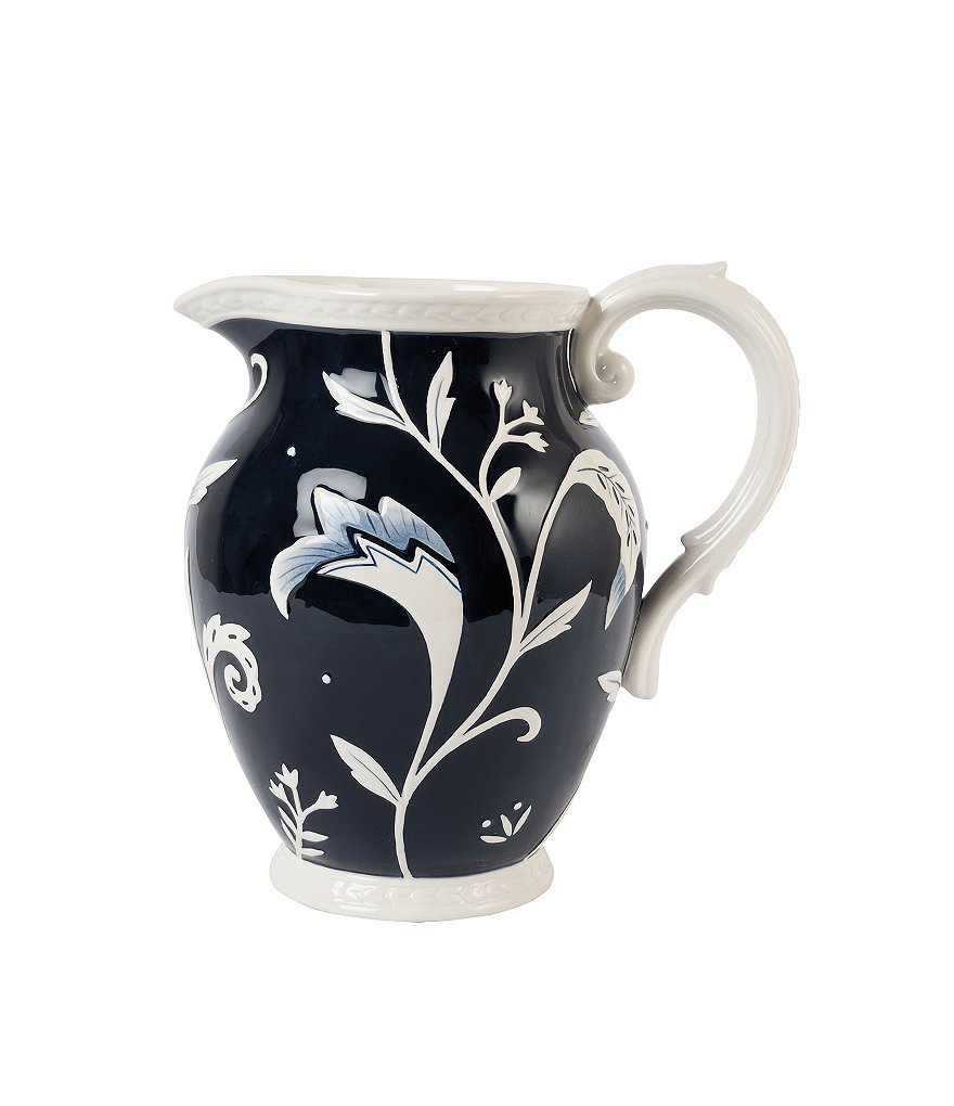 Fitz and Floyd Bristol Rustic Floral Earthenware Pitcher
