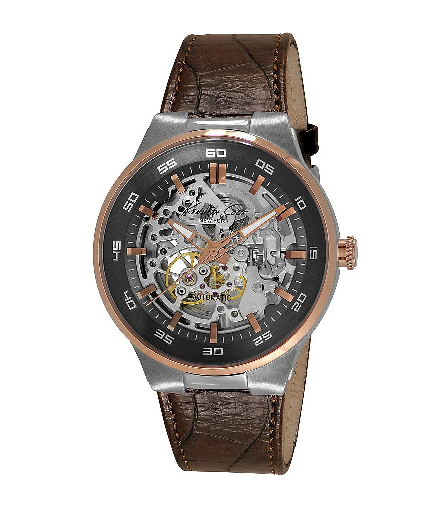 Kenneth Cole New York Men´s Automatic Two-Tone Leather Strap Watch